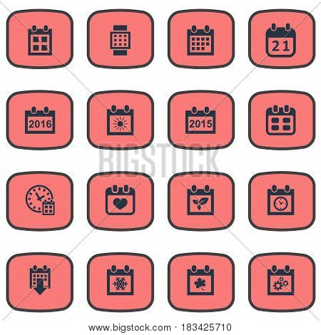 Vector Illustration Set Of Simple Calendar Icons. Elements Heart, Snowflake, Deadline And Other Synonyms Snowflake, Data And Leaf.