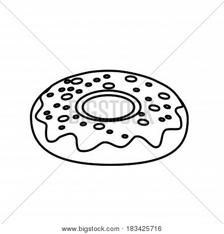 line delicious sweet donut bakery snack, vector illustration