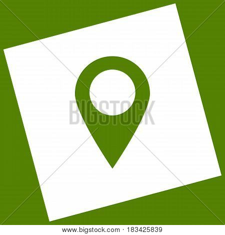 Mark pointer sign. Vector. White icon obtained as a result of subtraction rotated square and path. Avocado background.