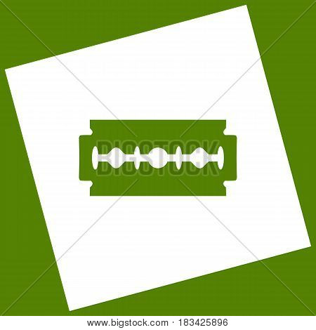 Razor blade sign. Vector. White icon obtained as a result of subtraction rotated square and path. Avocado background.
