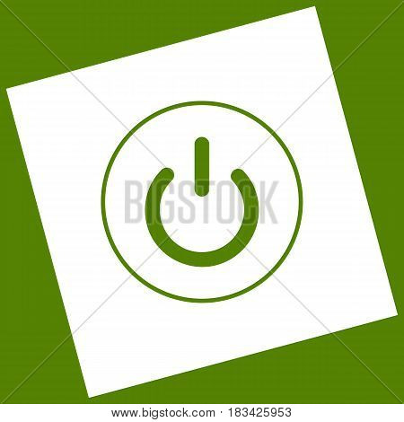 On Off switch sign. Vector. White icon obtained as a result of subtraction rotated square and path. Avocado background.