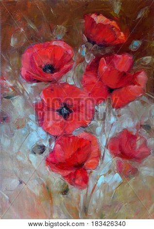 poppy flowers handmade oil painting on canvas