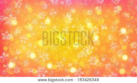 Background Of Flowers And Sun Glares