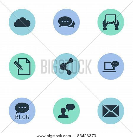 Vector Illustration Set Of Simple User Icons. Elements Man Considering, Site, Document And Other Synonyms Relation, Laptop And Blog.
