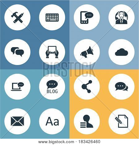 Vector Illustration Set Of Simple Blogging Icons. Elements Gossip, Notepad, Loudspeaker And Other Synonyms Keyboard, Argument And Blog.