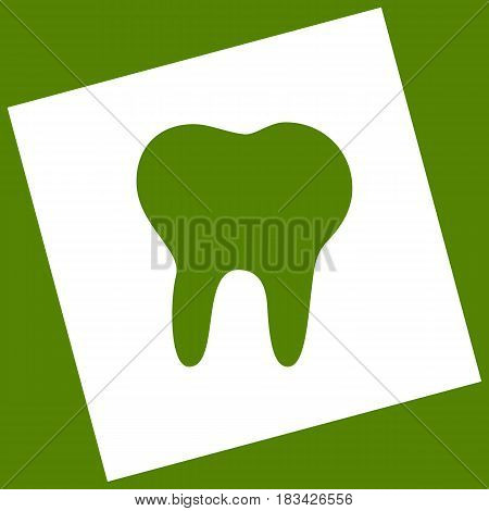 Tooth sign illustration. Vector. White icon obtained as a result of subtraction rotated square and path. Avocado background.