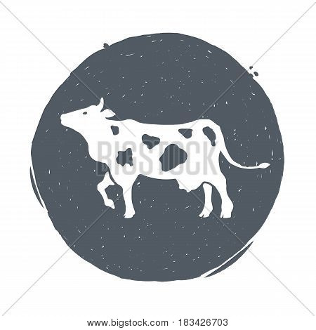 Hand drawn vintage cow. Sketch style. Calf. Bull. Beef. Meat. Vector illustration. T-shirt print Poster Logo Hipster Retro badge