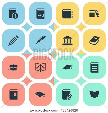Vector Illustration Set Of Simple Knowledge Icons. Elements Academic Cap, Notebook, Important Reading And Other Synonyms Plume, Journal And Write.