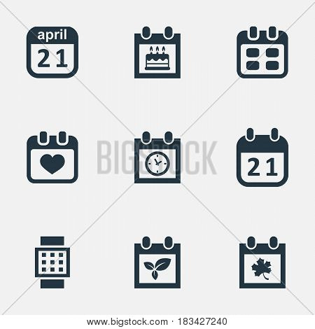 Vector Illustration Set Of Simple Plan Icons. Elements Plant, Leaf, Intelligent Hour And Other Synonyms Hour, Remembrance And Leaf.