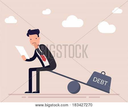 Businessman or a manager with a loan agreement sits on the scales. The severity of a financial debt. Heavy burden. Flat character isolated on background. Vector illustration