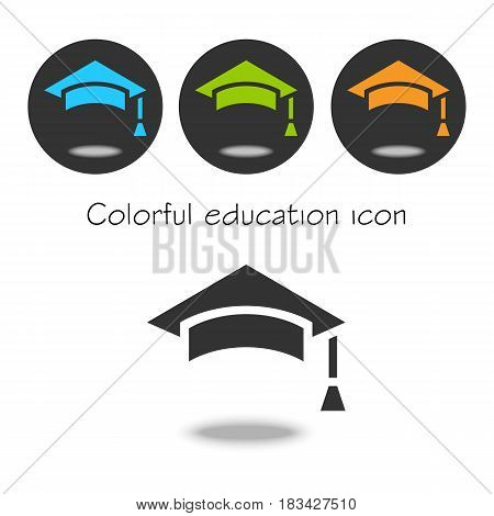 Colorful set Vector education Icon. Color education cap. Colorful icon cap