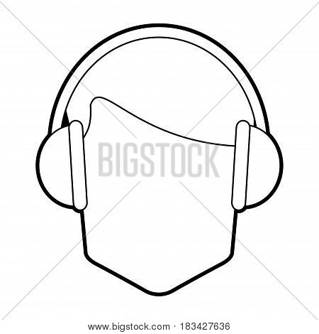faceless man wearing headphones icon image vector illustration design