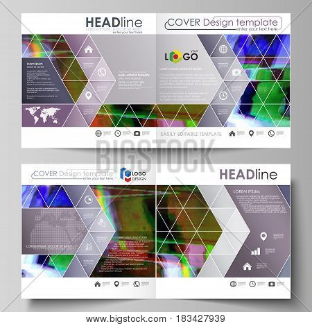 Business templates for square design bi fold brochure, magazine, flyer, booklet or annual report. Leaflet cover, abstract flat layout, easy editable vector. Glitched background made of colorful pixel mosaic. Digital decay, signal error, television fail.