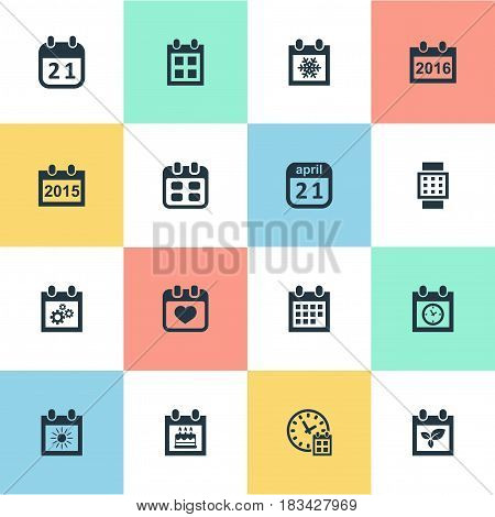 Vector Illustration Set Of Simple Plan Icons. Elements Remembrance, 2016 Calendar, Annual And Other Synonyms Data, Almanac And Snowflake.