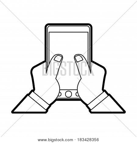 hand holding modern cellphone with blank screen icon image vector illustration design