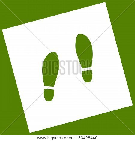 Imprint soles shoes sign. Vector. White icon obtained as a result of subtraction rotated square and path. Avocado background.