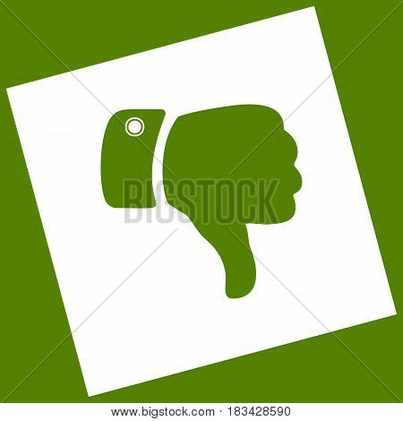 Hand sign illustration. Vector. White icon obtained as a result of subtraction rotated square and path. Avocado background.