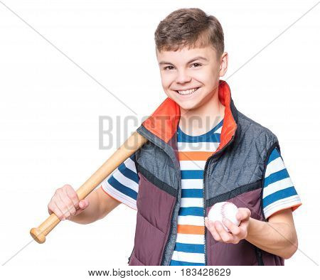 Portrait of a handsome boy teenager holding baseball bat and ball. Funny cute smiling child looking at camera, isolated on white background.
