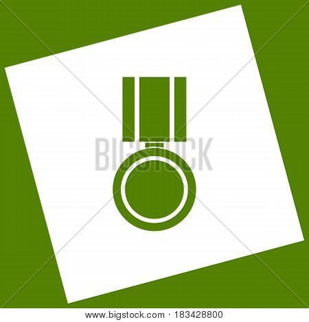 Medal sign illustration. Vector. White icon obtained as a result of subtraction rotated square and path. Avocado background.