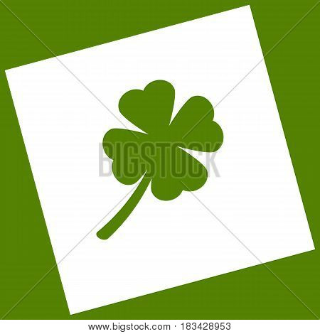 Leaf clover sign. Vector. White icon obtained as a result of subtraction rotated square and path. Avocado background.