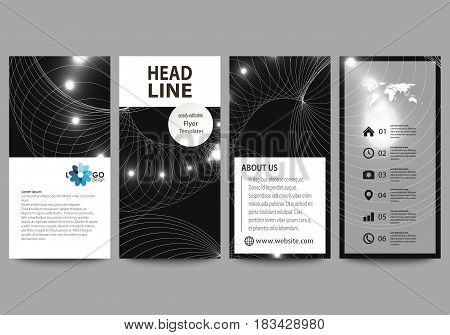Flyers set, modern banners. Business templates. Cover design template, easy editable abstract vector layouts. Sacred geometry, glowing geometrical ornament. Mystical background