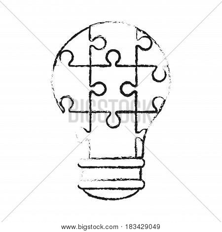 lightbulb made of puzzle pieces teamwork concept image vector illustration design
