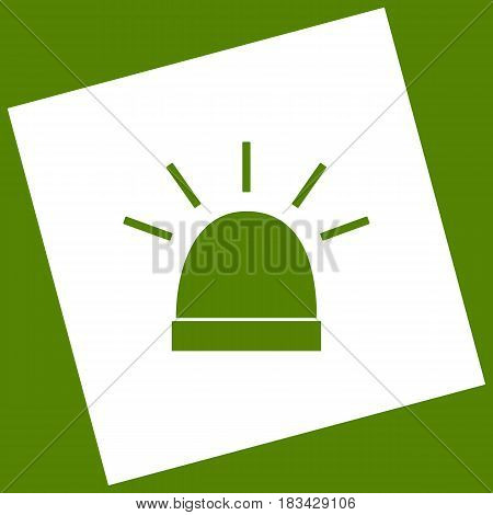 Police single sign. Vector. White icon obtained as a result of subtraction rotated square and path. Avocado background.