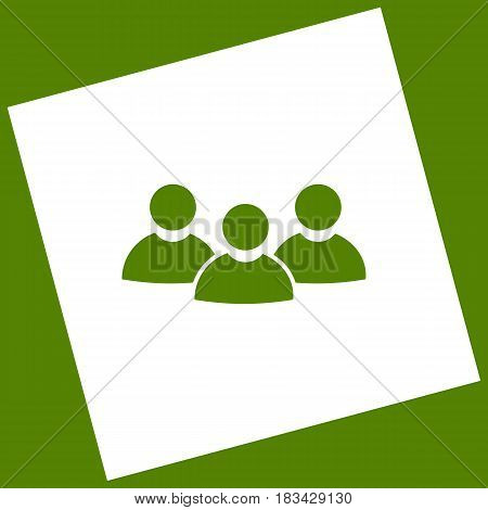 Team work sign. Vector. White icon obtained as a result of subtraction rotated square and path. Avocado background.