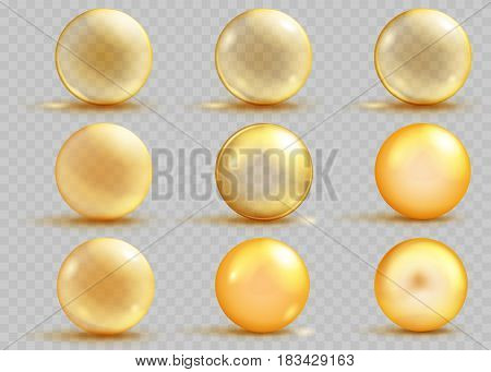 Set of transparent and opaque yellow spheres with shadows and glares on transparent background. Transparency only in vector file