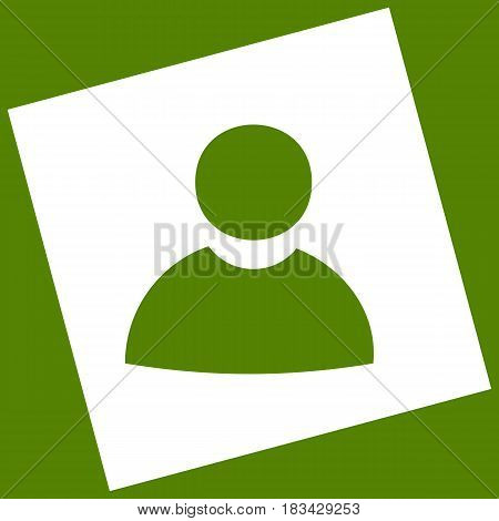 User sign illustration. Vector. White icon obtained as a result of subtraction rotated square and path. Avocado background.