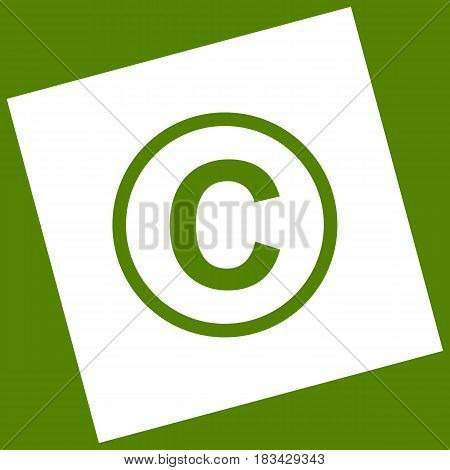 Copyright sign illustration. Vector. White icon obtained as a result of subtraction rotated square and path. Avocado background.