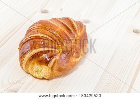 Croissant Brioche On A Pine Wood Table