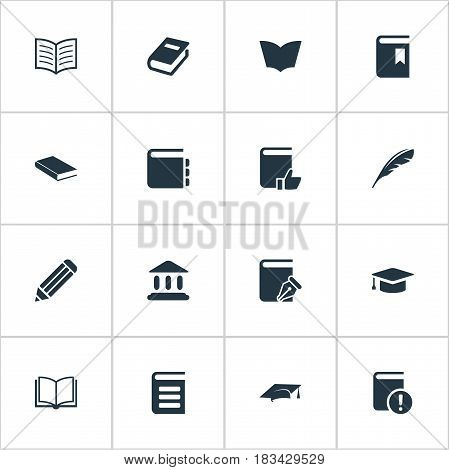 Vector Illustration Set Of Simple Books Icons. Elements Book Cover, Recommended Reading, Pen And Other Synonyms Important, Recommended And Writing.