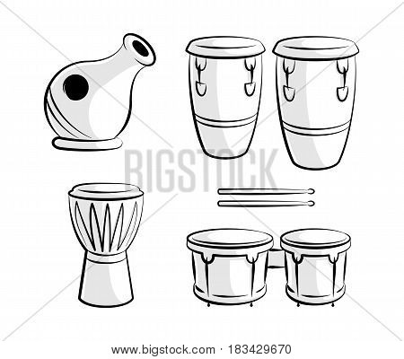Latin Percussion Drum Instrument Icons Line Art. Vector Icons set of Latin Music Percussion Drum Instruments.