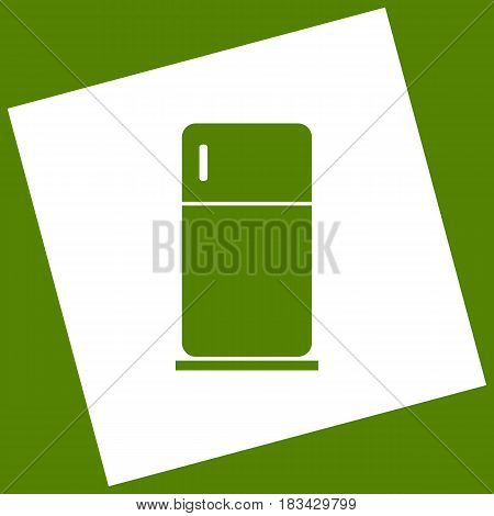 Refrigerator sign illustration. Vector. White icon obtained as a result of subtraction rotated square and path. Avocado background.