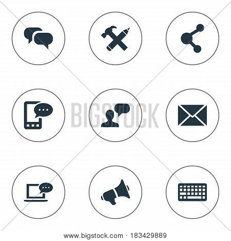 Vector Illustration Set Of Simple Blogging Icons. Elements Post, Keypad, Repair And Other Synonyms Laptop, Gossip And Debate.