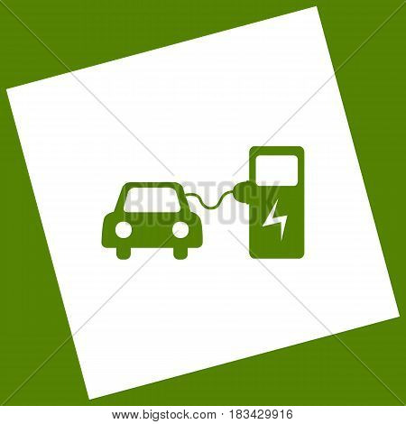 Electric car battery charging sign. Vector. White icon obtained as a result of subtraction rotated square and path. Avocado background.