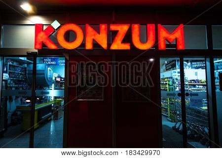 SARAJEVO BOSNIA HERZEGOVINA - APRIL 15 2017: Entrance of a Konzum supermarket in Sarajevo. Konzum is a part of the Agrokor corporation one of the main entreprises of Croatia currently near bankruptcy