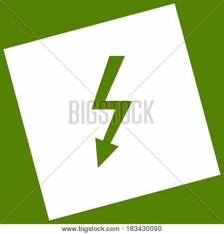 High voltage danger sign. Vector. White icon obtained as a result of subtraction rotated square and path. Avocado background.