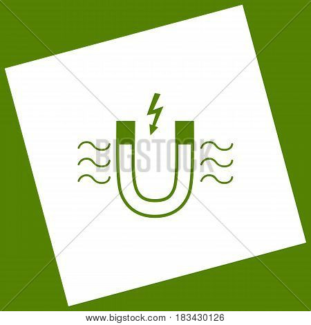 Magnet with magnetic force indication. Vector. White icon obtained as a result of subtraction rotated square and path. Avocado background.