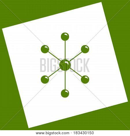 Molecule sign illustration. Vector. White icon obtained as a result of subtraction rotated square and path. Avocado background.