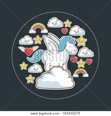 unicorn magic fantasy with kawaii star cloud rainbow heart vector illustration