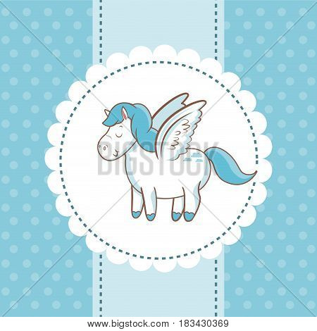 cute unicorn wings animal magic card dots background vector illustration