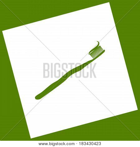 Toothbrush with applied toothpaste portion. Vector. White icon obtained as a result of subtraction rotated square and path. Avocado background.