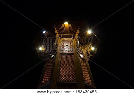 Sebilj fountain on Bacarsija district in Sarajevo at night Bosnia and Herzegovina. This fountain is considered to be one of the greatest landmarks of the Ottoman part of Sarajevo