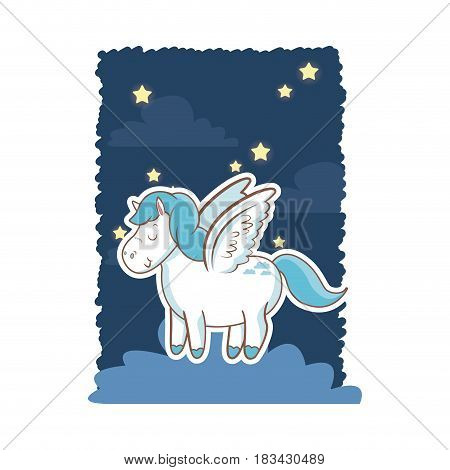 cute unicorn wings over cloud night star poster design vector illustration