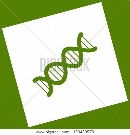 The DNA sign. Vector. White icon obtained as a result of subtraction rotated square and path. Avocado background.
