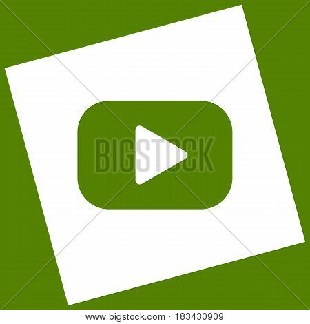 Play button sign. Vector. White icon obtained as a result of subtraction rotated square and path. Avocado background.