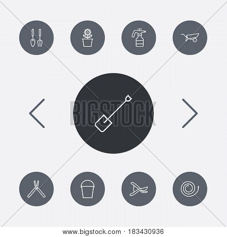 Set Of 9 Household Outline Icons Set.Collection Of Instruments, Shears, Secateurs And Other Elements.