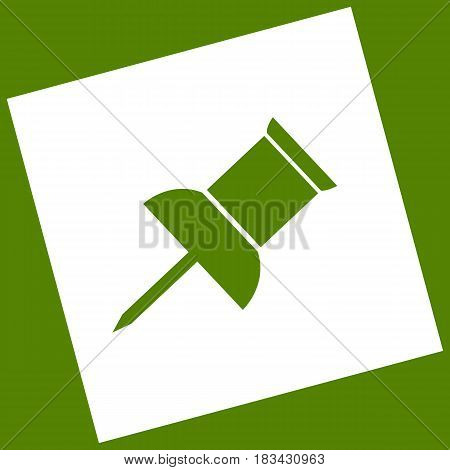 Pin push sign. Vector. White icon obtained as a result of subtraction rotated square and path. Avocado background.